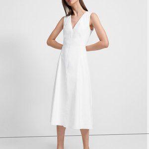 Theory V-neck A-line Sleeveless Summer Linen dress
